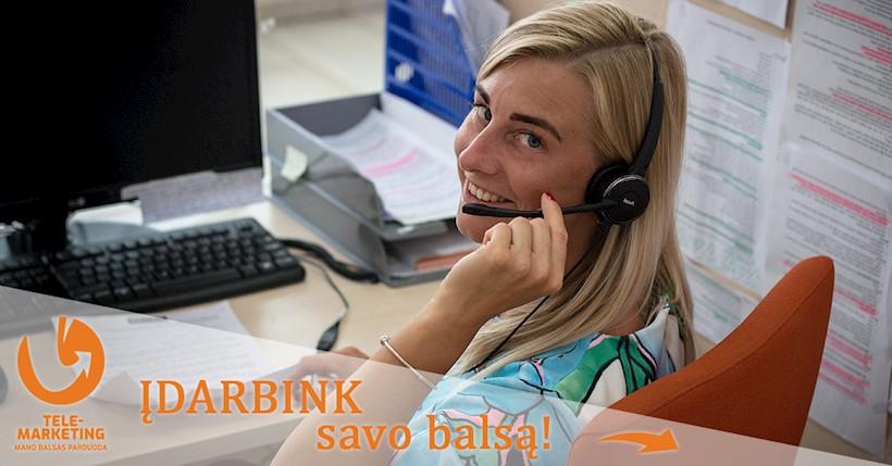 """Pardavimų telefonu vadybininkė (-as), UAB """"Telemarketing"""""""
